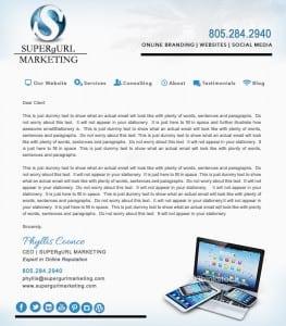 Email Stationery Sample: Supergurl Marketing