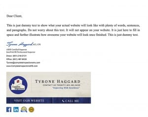 Email Stationery Sample: Tyrone Haggard
