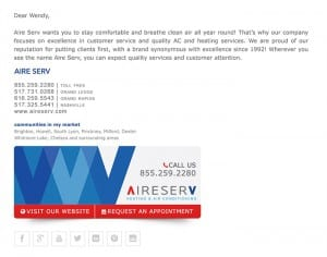 Email Stationery Sample: AireServ