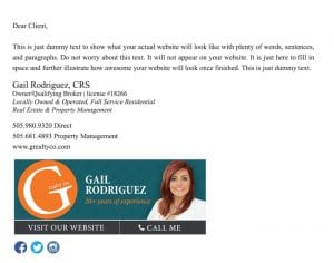 Email Stationery Sample: Gail Rodriguez